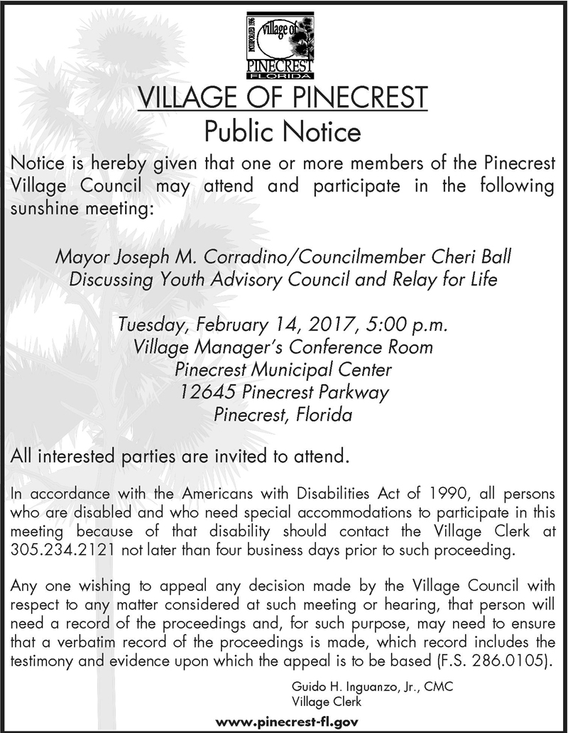 Sunshine Meeting | Event List View(For Meeting) | Village of Pinecrest