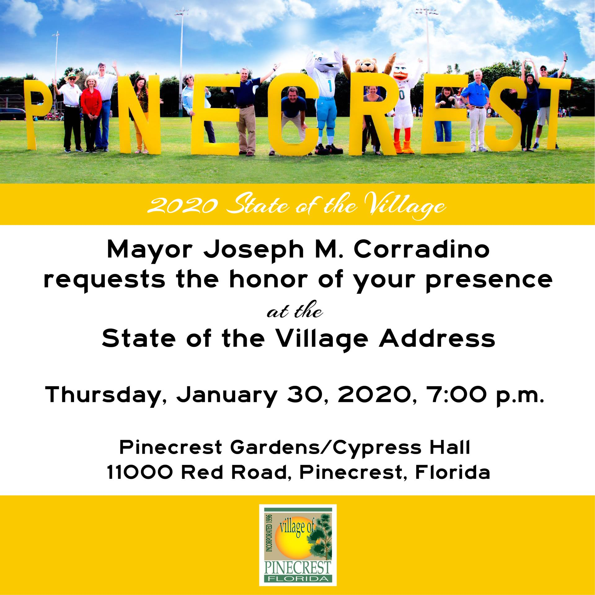 Join mayor for State of Village on January 30th at 7pm in Cypress Hall