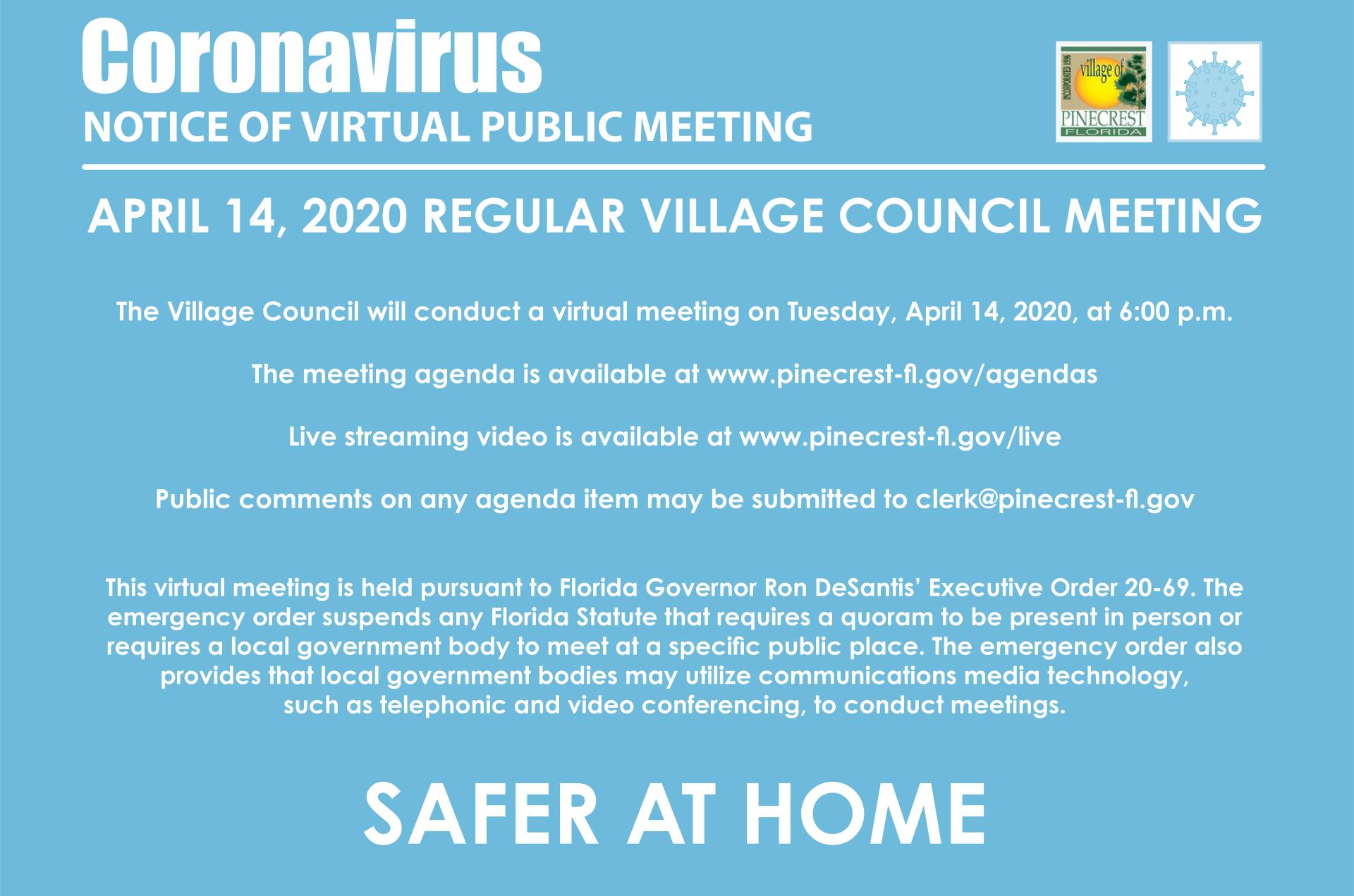 April 14, 2020 Virtual Village Council Meeting